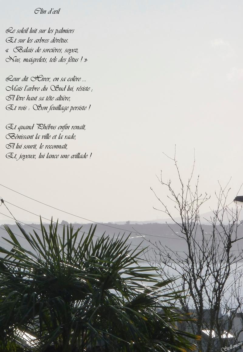 Clin d'œil / / Le soleil luit sur les palmiers / Et sur les arbres dévêtus. / « Balais de sorcières, soyez, / Nus, maigrelets, tels des fétus ! » / / Leur dit Hiver, en sa colère ... / Mais l'arbre du Sud lui, résiste ; / Il lève haut sa tête altière, / Et vois : Son feuillage persiste ! / / Et quand Phébus enfin renaît, / Bénissant la ville et la rade, / Il lui sourit, le reconnaît, / Et, joyeux, lui lance une œillade ! / / Stellamaris